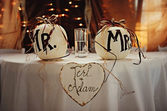 Personalising where the bride and groom are going to sit at the reception