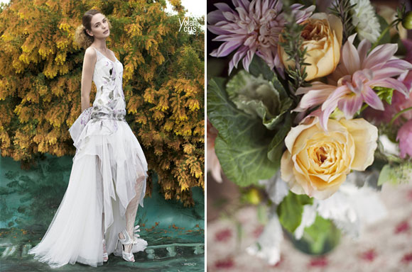 Floral inspiration : wedding dresses and bouquets