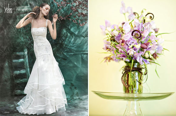 Floral inspirations : wedding dresses and bouquets