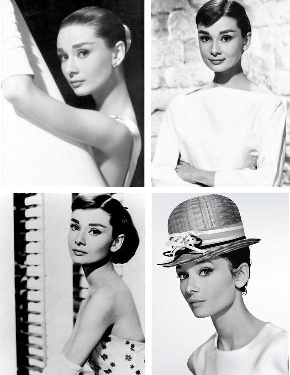 Audrey Hepburn in all her beauty and a choice of wedding dresses hair