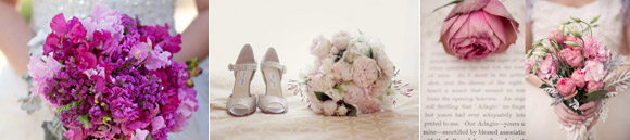 Wedding bouquets in different colours for each of these wedding styles : chic, vintage and rural