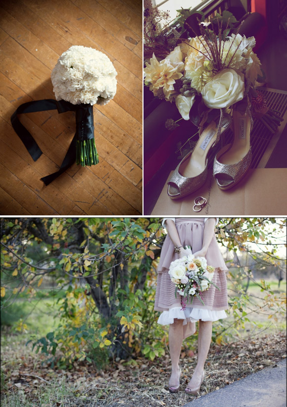 Wedding bouquets in different colours for each of these styles : chic, vintage and rural