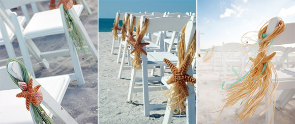 Decoración sillas para bodas en la playa