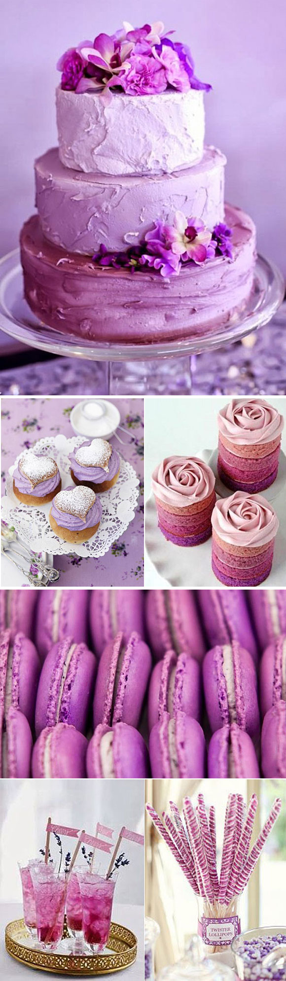 Radiant orchid decoracion para bodas en color violeta for Decoracion postres