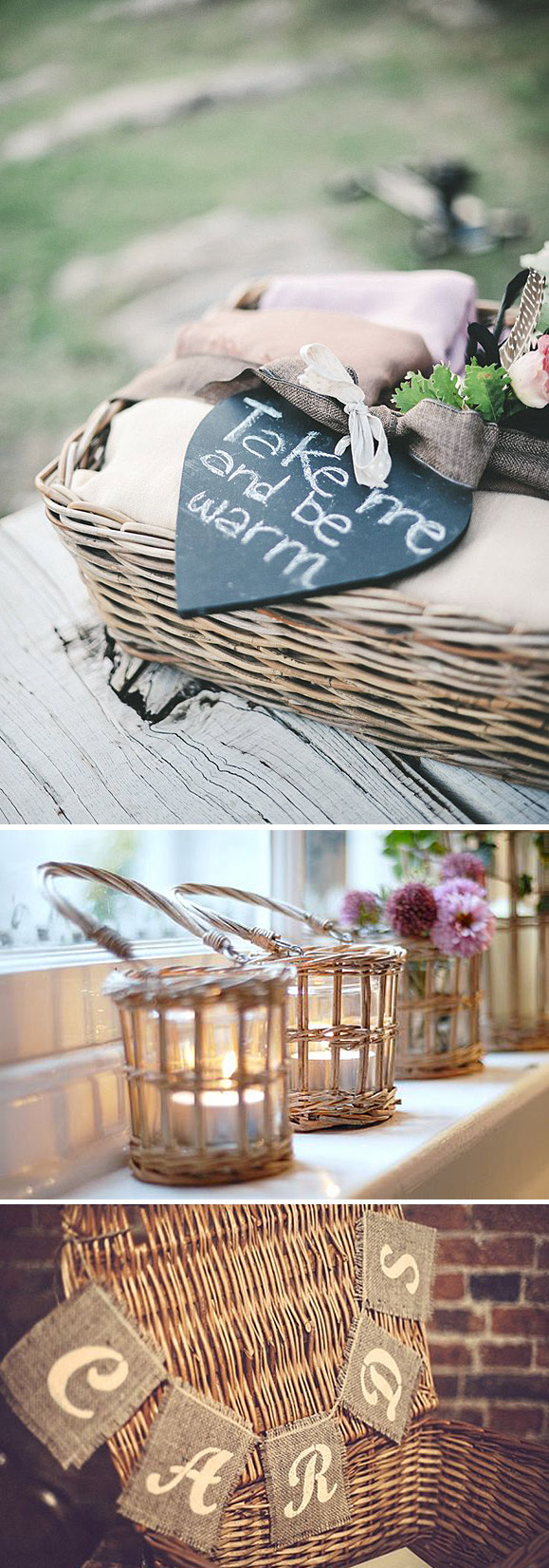 Cestas - ideas para decorar bodas y eventos en el campo