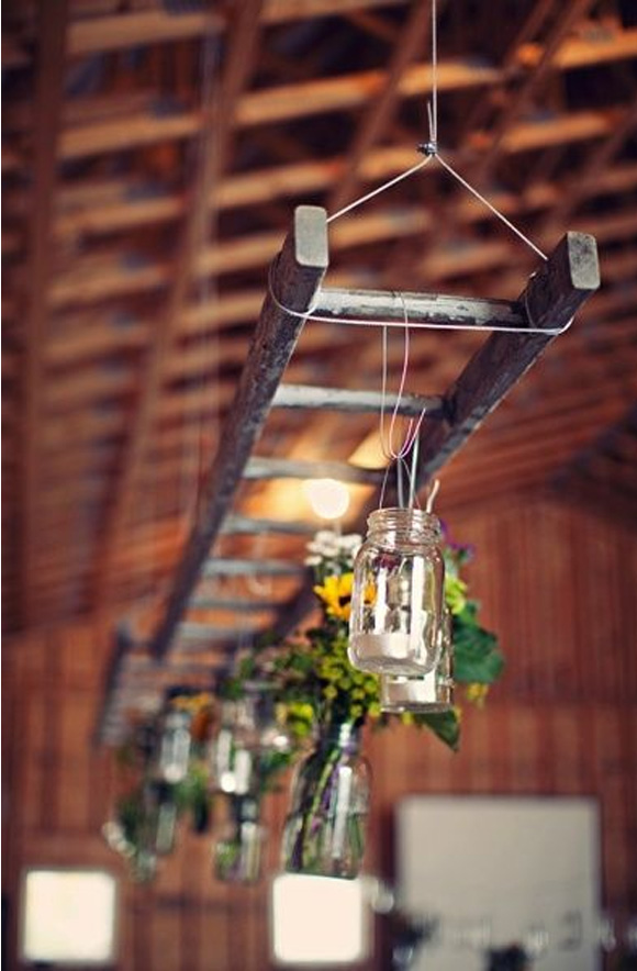 Decoración de boda con escaleras