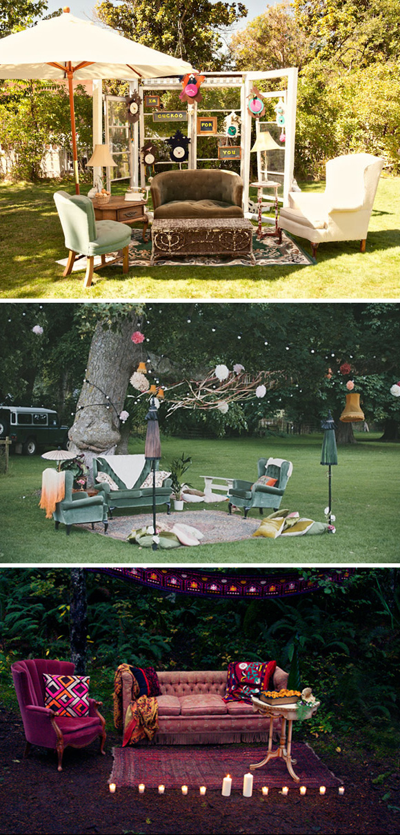 Ideas para decorar el rincon chill-out en tu boda. Ideas vintage con sillones y butacas