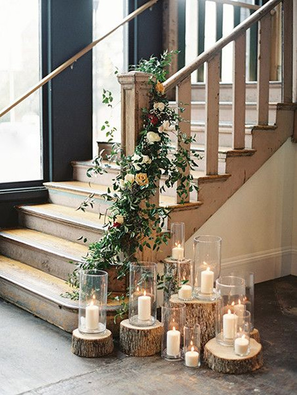 Ideas para decorar tu boda con velas for Decoracion para pared de escaleras