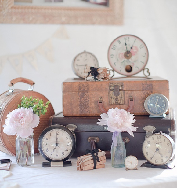 Decoracion de boda con relojes vintage - Relojes de pared originales decoracion ...