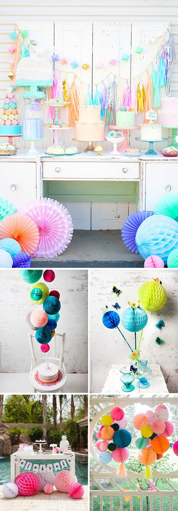 Ideas para decorar tu fiesta con honeycombs