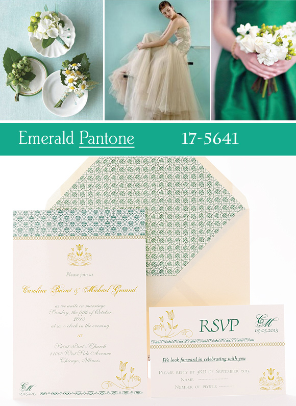 Invitación de boda color Emerald. azulsahara