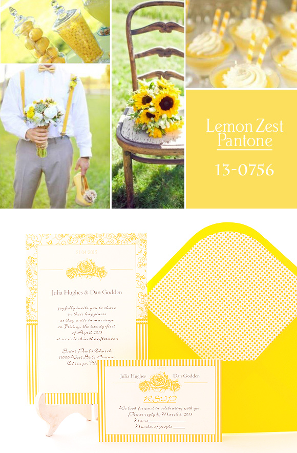 Invitación de boda en color amarillo