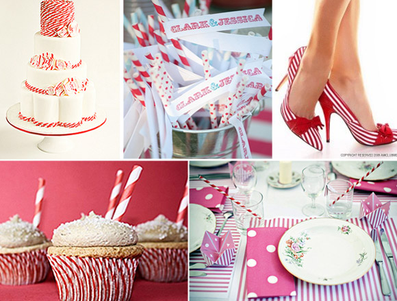 Ideas para decorar bodas con rayas rojas