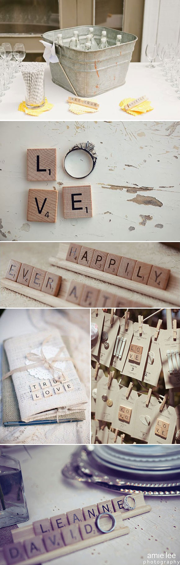 Ideas para decorar tu boda con letras del scrabble