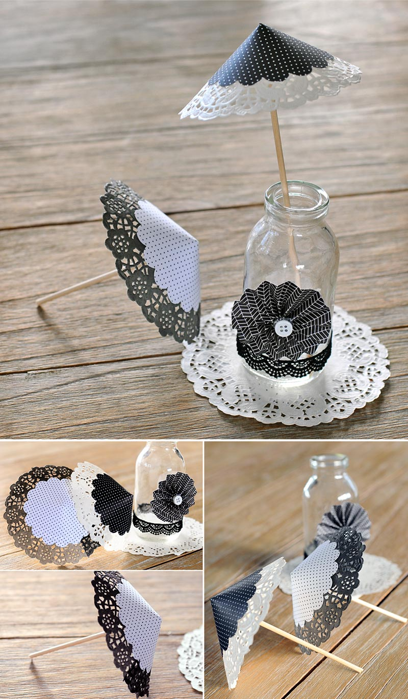 DIY bodas - sombrillas de papel con blondas