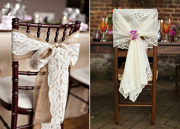 Ideas para decorar tu boda con encaje - decoración sillas
