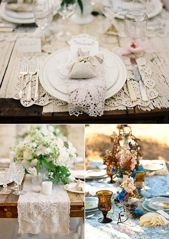 Ideas para decorar tu boda con encaje - decoracion de mesas