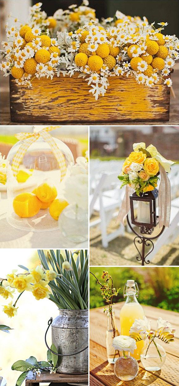 Ideas para decorar bodas en amarillo