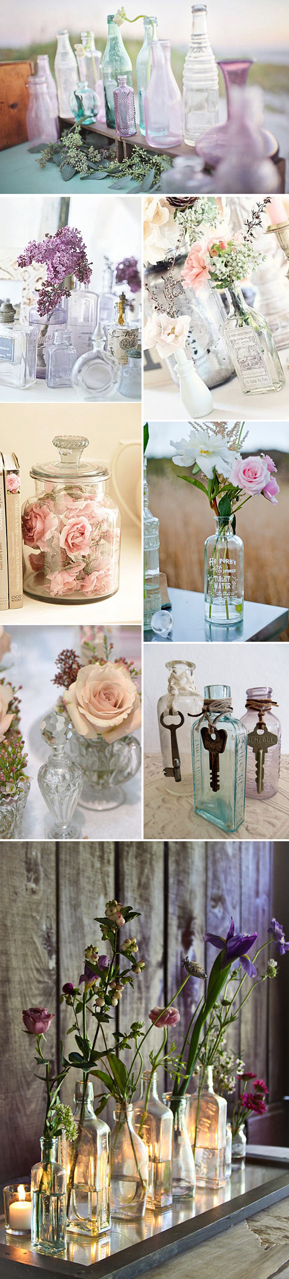 Ideas para decorar con botellas de cristal estilo vintage