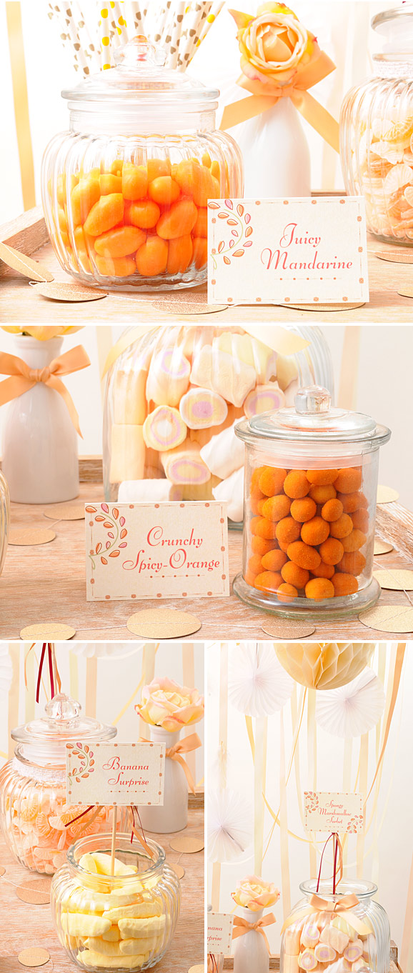 Candy bar en peach, coral y marfil. Candy bar chic