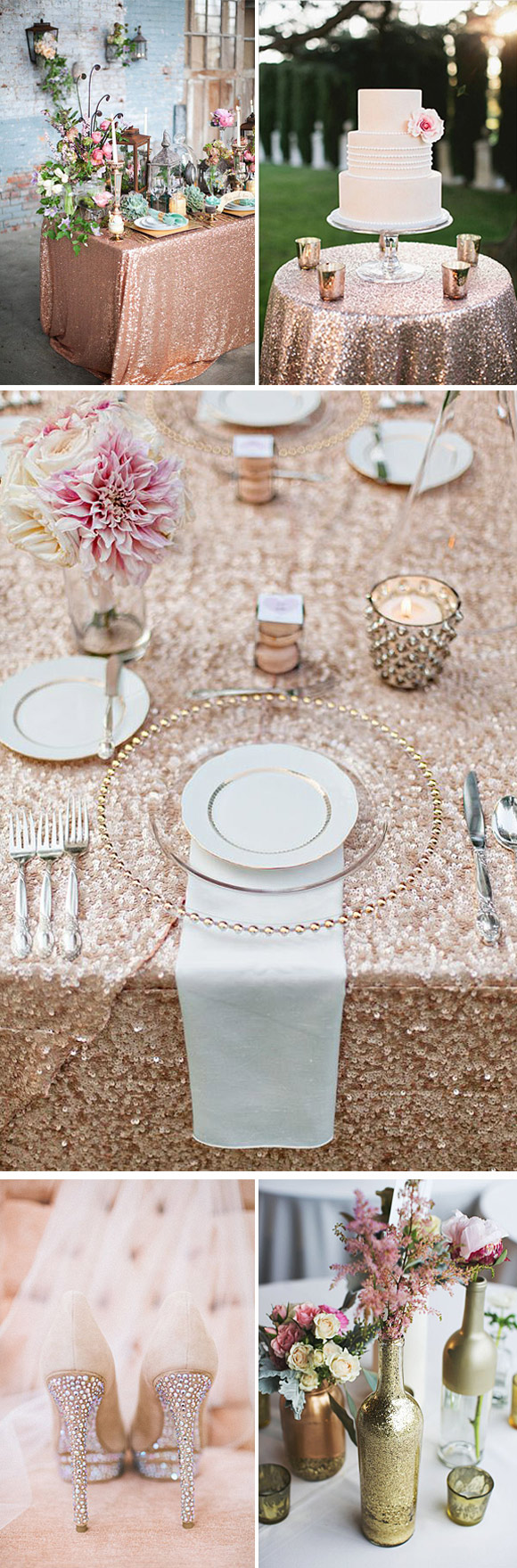 Ideas para decorar las mesas en bodas con purpurina