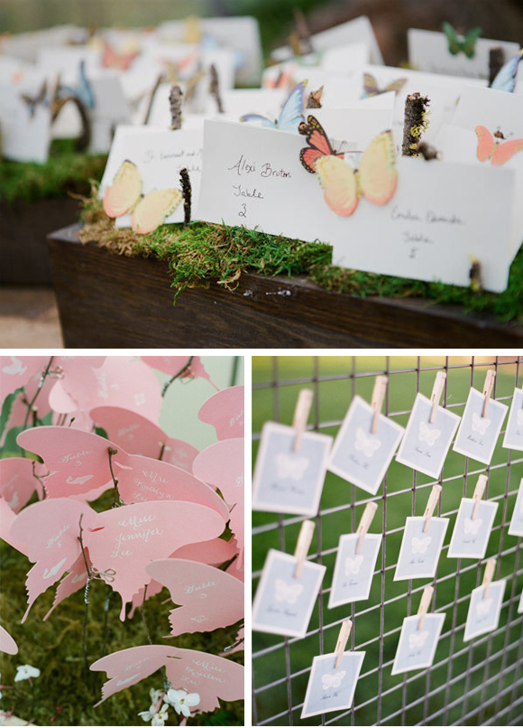 Decoración de boda con mariposas 02 seating plan escort cards