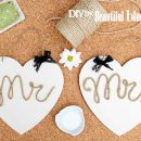 DIY de Bodas - corazon Mr and Mrs de cuerda trenzada