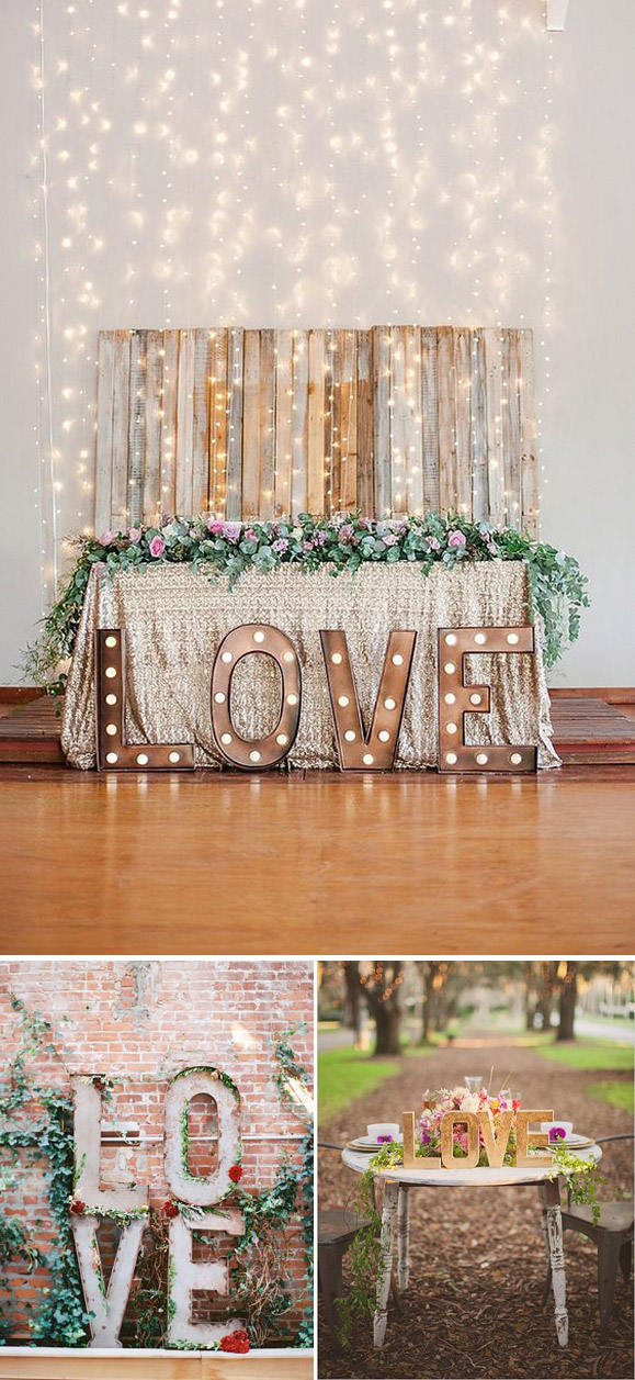 Ideas para decorar tu boda de manera original con la palabra love
