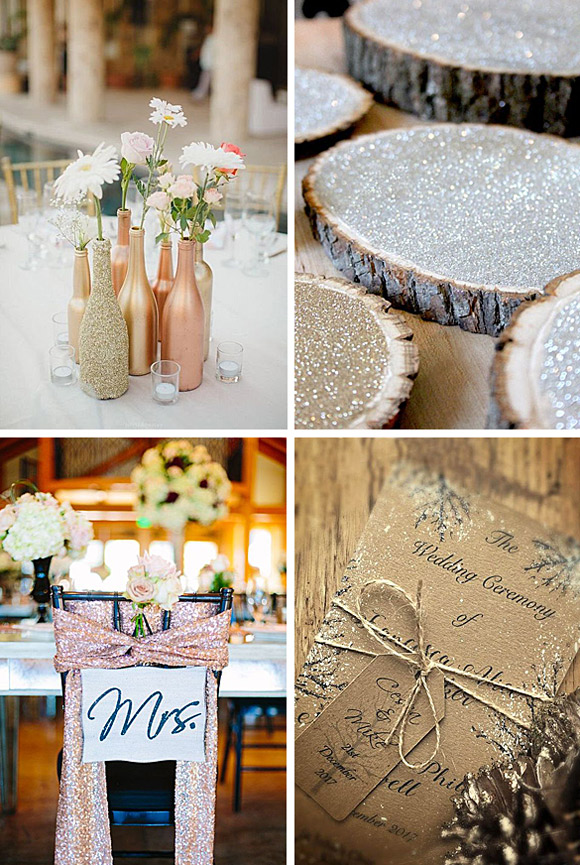 Decoración de bodas con purpurina